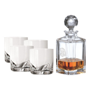 CRYSTAL DECANTER (ETCH) & 4 DOF